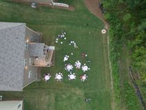 Aerial view of typical backyard family gathering in Southern United States. Shot in 2018 stock photo