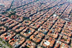 Aerial view of typical buildings at Eixample. Barcelona Royalty Free Stock Photo