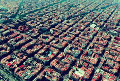 Aerial view of typical buildings at Eixample. Barcelona Stock Photography