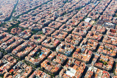 Aerial view of  typical buildings at Eixample  district. Barcelo. Aerial view of typical buildings at Eixample residential district. Barcelona, Spain Stock Photo