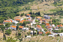 Aerial view on typical Croatian village. Royalty Free Stock Photo