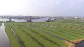 Aerial view on Zaanse Schans stock footage