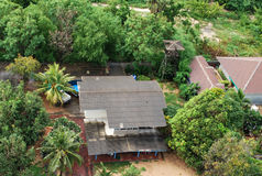 Aerial view of a typical residential housekeeping in Thailand Stock Photography