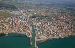 Aerial view of the Tyrrhenian coastline and Fiumicino town, near Stock Photography