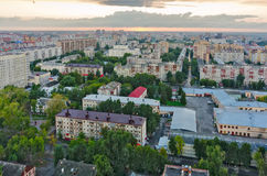 Aerial view of Tyumen city skyline at sunset Royalty Free Stock Photos