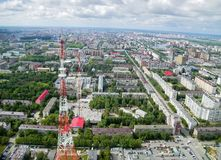 Aerial view on Tyumen city with TV tower. Russia Royalty Free Stock Photos