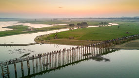 Aerial view of U-Bein bridge Royalty Free Stock Photography