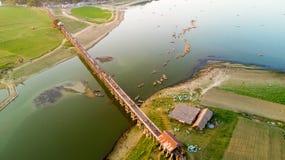 Aerial view of U-Bein bridge Stock Photo