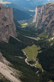Aerial view of U-shaped glacial valley in Dolomites Royalty Free Stock Image