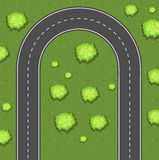 Aerial view of u-turn road Royalty Free Stock Photography