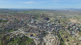 Aerial view of Uchisar castle in Cappadocia stock footage