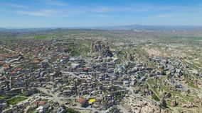 Aerial view of Uchisar castle in Cappadocia stock video footage