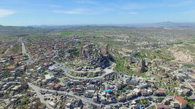 Aerial view of Uchisar castle in Cappadocia stock video