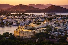 Aerial view of Udaipur`s city palace. During sunset, Rajasthan, India Royalty Free Stock Photography