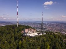 Aerial view of Uetliberg mountain in Zurich, Switzerland royalty free stock photo