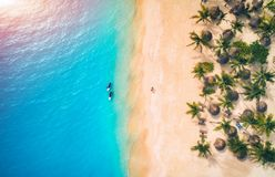 Aerial view of umbrellas, palms on the sandy beach and kayaks. In the sea at sunset. Summer holiday in Zanzibar, Africa. Tropical landscape with palm trees royalty free stock image