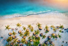 Aerial view of umbrellas, palms on the sandy beach of ocean. Aerial view of umbrellas, palms on the sandy beach of Indian Ocean at sunset. Summer holiday in royalty free stock images