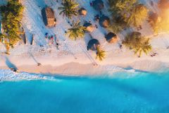 Aerial view of umbrellas, palms on the sandy beach at sunset. Aerial view of umbrellas, palms on the sandy beach of Indian Ocean at sunset. Summer travel in stock image