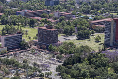 Aerial view of UNAM university headquarters rectory Royalty Free Stock Images