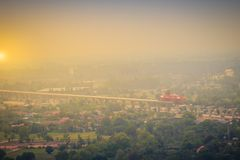 Aerial view of the under construction of the new motorway construction site project, started from Saraburi province to Nakhon Ratc. Hasima province, the royalty free stock image