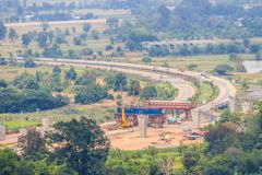 Aerial view of the under construction of the new motorway construction site project, started from Saraburi province to Nakhon Ratc. Hasima province, the stock image