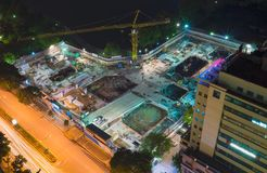 Aerial view of under-construction site in Lang Ha street, Hanoi city, Vietnam.  Royalty Free Stock Images