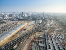 Aerial view of a underconstruction mass transit system. Grandstation, grand interchange station in Bangkok Thailand, city view in background Stock Image