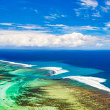 Aerial view of the underwater channel. Mauritius Stock Photography