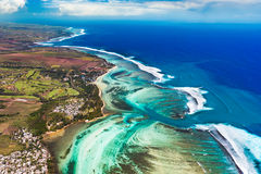 Aerial view of the underwater channel. Mauritius Royalty Free Stock Photos