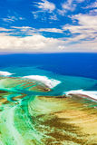 Aerial view of the underwater channel. Mauritius Royalty Free Stock Images