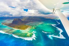 Aerial view of the underwater waterfall. Mauritius Royalty Free Stock Photography