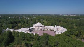 Aerial view of the Unesco object Pavlovsk Palace. Beautiful view from the air to the geometry of the landscape in Pavlovsk Park stock video footage