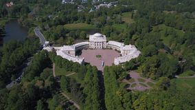 Aerial view of the Unesco object Pavlovsk Palace. Beautiful view from the air to the geometry of the landscape in Pavlovsk Park stock footage