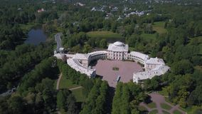 Aerial view of the Unesco object Pavlovsk Palace. Beautiful view from the air to the geometry of the landscape in Pavlovsk Park stock video