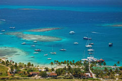 Aerial view of Union Island yacht club lagoon Stock Photos