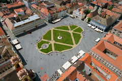 Aerial view of Union Square in Timisoara, Romania. Union Square in Timisoara, Romania, seen from above by a professional drone Stock Photography