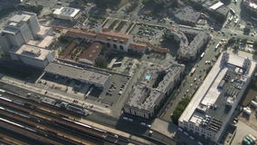 Aerial View of Union Station  Los Angeles California. More Aerial Footage of Los Angeles stock video footage