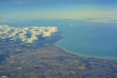 Aerial view of United Kingdom. Aerial view of Dover and Folkestone royalty free stock images