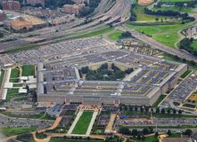 Aerial view of the United States Pentagon, the Department of Defense headquarters in Arlington, Virginia, near Washington DC, with. I-395 freeway and the Air stock photo