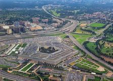 Aerial view of the United States Pentagon, the Department of Defense headquarters in Arlington, Virginia, near Washington DC, with. I-395 freeway and the Air royalty free stock photo