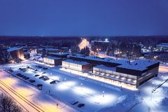 Aerial view of University of Eastern Finland. View of the university building on a winter evening. The university is located in Joensuu, Finland royalty free stock image