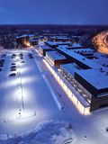 Aerial view of University of Eastern Finland. View of the university building on a winter evening. The university is located in Joensuu, Finland stock photos