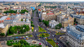 Aerial view of the University Square in the civic center of Bucharest, Romania. Daytime with traffic stock image