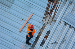 Aerial view of unrecognized civil engineers inspecting the work Royalty Free Stock Images