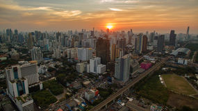 Aerial view unseen skyscraper in heart of bangkok thailand capit Stock Photography