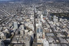 Aerial View up Broadway in Downtown Oakland California. Aerial view up Broadway in downtown Oakland, California royalty free stock photo