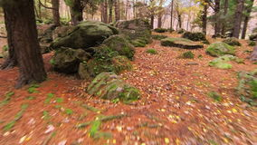 Aerial View Up the Fields Over the Stones in Autumn stock footage