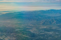 Aerial view of Upland, Rancho Cucamonga, view from window seat i. N an airplane, California, U.S.A stock photography