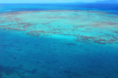 Aerial view of Upolu coral reef at  the Great Barrier Reef Queen Stock Photography