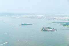 Aerial view on Upper Bay. NEW YORK CITY - JULY 13: Aerial view on Upper Bay on July 13, 2015 in New York. Upper Bay is the traditional heart of the Port of New stock photos